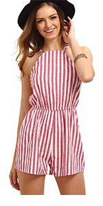 32ef6434c0c Romwe Women s Casual Striped Sleeveless Halter Sexy Short Romper Jumpsuit · Romwe  Women s Sexy Tie Front Ruffle Hem Colorblock Striped Print Romper Jumpsuit  ...