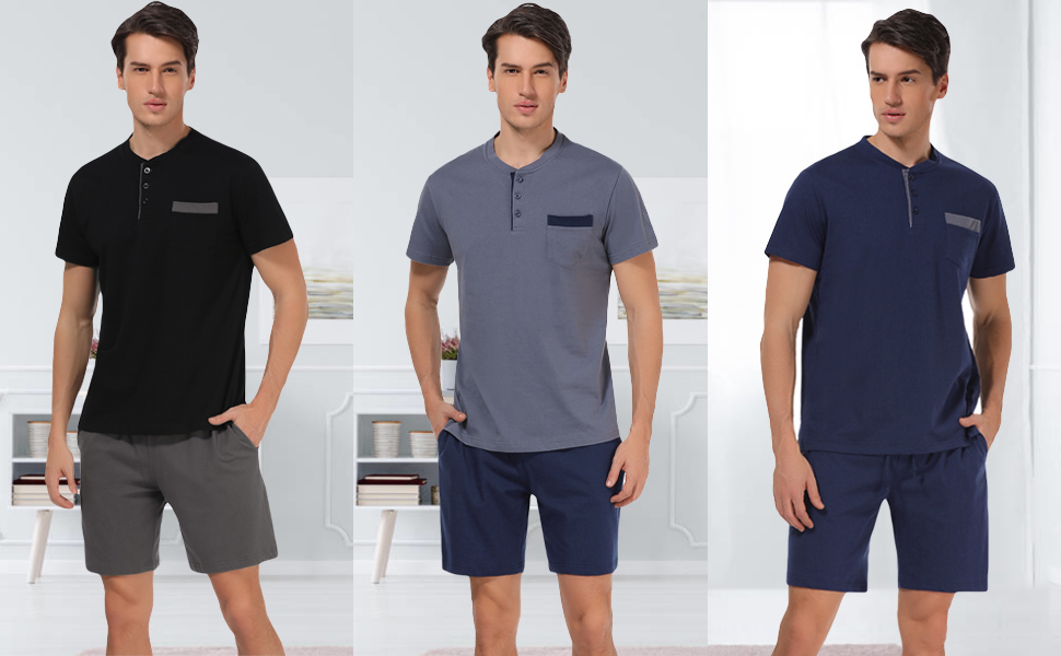 ad2bc73513be men pajama set. Material: made from 100% cotton, breathable and  lightweight, comfortable to wear. Style: Short sleeve ...