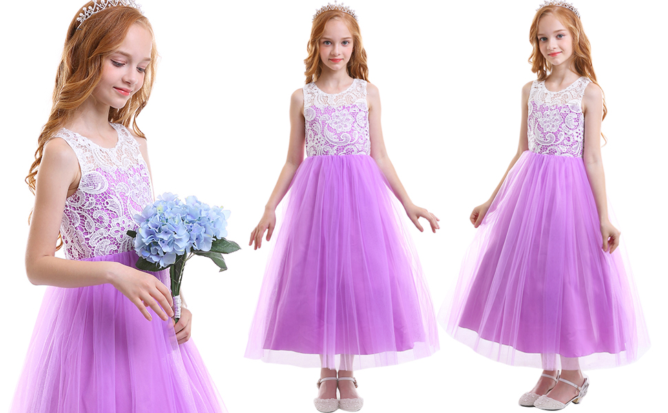 b62219297 Amazon.com  Girls  Tulle Dresses 7-16 Flower Lace Pageant Party ...