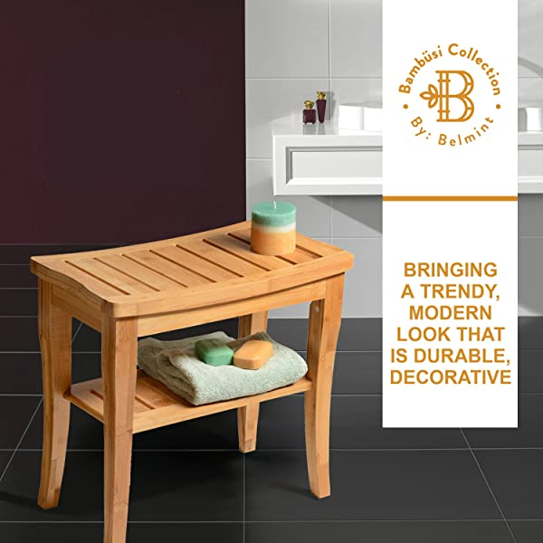 Awe Inspiring Details About New Bamboo Shower Bench Seat Wooden Spa Stool With Storage Shelf Bathroom Theyellowbook Wood Chair Design Ideas Theyellowbookinfo