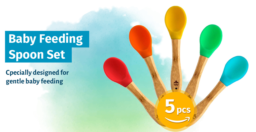 Amazon Baby Feeding Spoons Set 5 Pack First Stage Bamboo