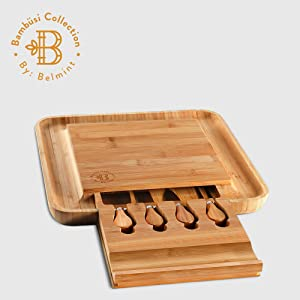 cheese board with drawer and cutlery serving utensils and cheese knives