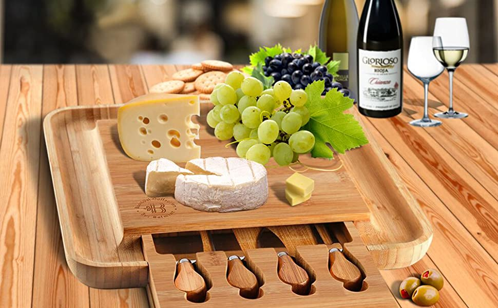 cheese board for wine and cracker grooves and drawer nice gift and party and loved ones or friends
