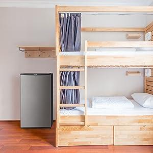 hOmelabs mini fridge in dorm or bedroom