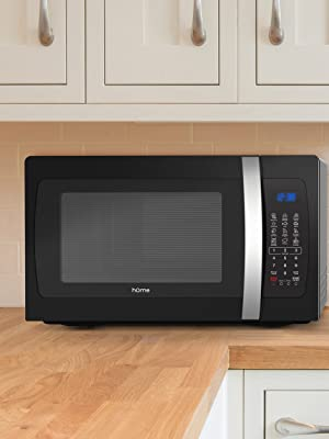 hOmelabs Black Countertop Microwave on Counter in Kitchen or Apartment