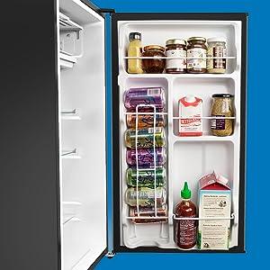 hOmeLabs Mini Fridge Door and Shelving with Food