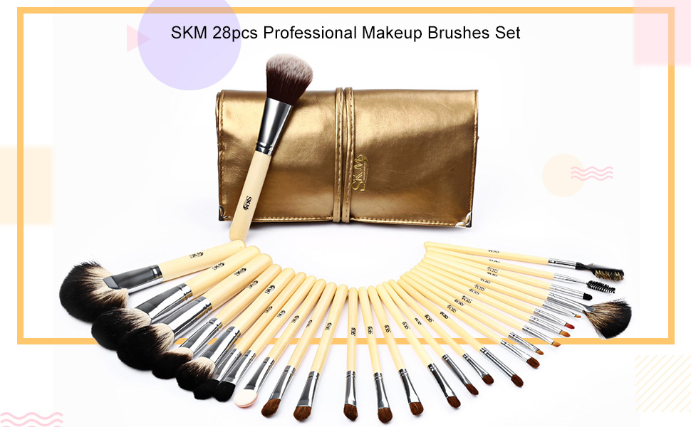 4f87145f5ebd Makeup Brushes Set 28 Piece Wooden Make Up Brush Soft Cosmetic Brushes for  Eyeshadow Face Lip...