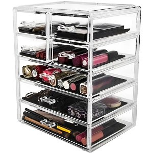 Amazon Com Kryllic Cosmetic Makeup Jewelry Organizer Large 7 Drawer Make Up Holder For Brush Cream Lipstick Palette Clear Countertop Beauty Makeup Organization Box Storage For Any Bathroom Or Bedroom Table Home