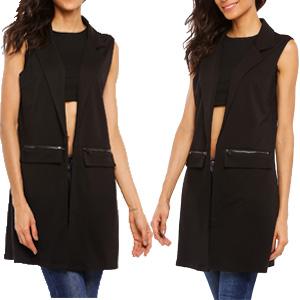 bcf5a5f5ac8e2 Beyove Women s Sleeveless Zip Pocket Long Waistcoat Blazer Jacket Coat Top