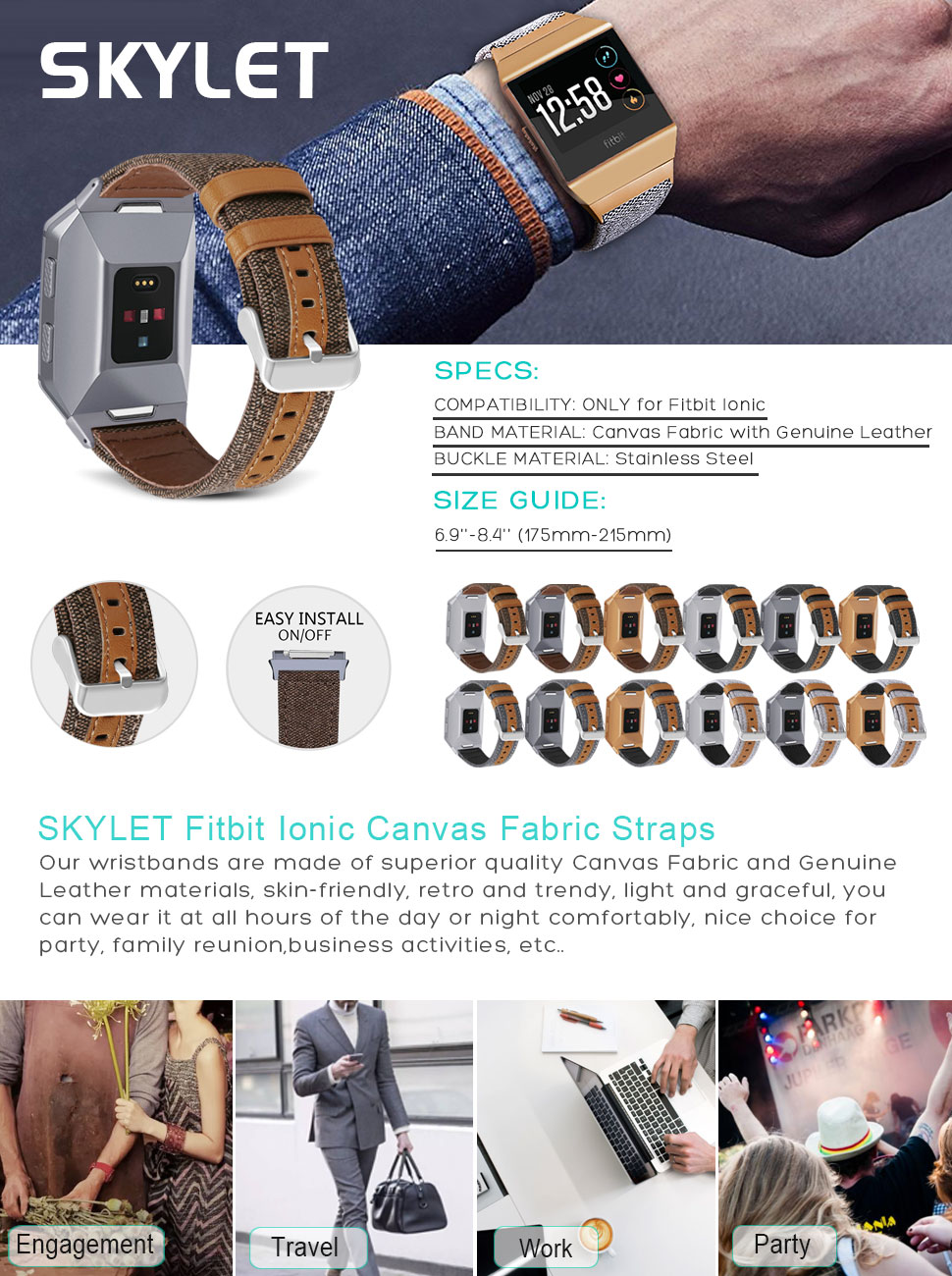 SKYLET Bands for Fitbit Ionic, Canvas Fabric with Genuine Leather Straps  with Metal Clasp for Fitbit Ionic Smart Watch (Smart Watch Not Included)