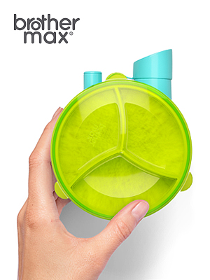 Brother Max Baby Milk Powder Formula Dispenser Snack Cup, Blue/Green.