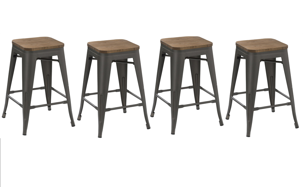 Pleasing Btexpert 24 Inch Metal Vintage Antique Style Gunmetal Counter Height Bar Stool Modern Handmade Wood Top Seat Set Of 4 Barstool Gmtry Best Dining Table And Chair Ideas Images Gmtryco