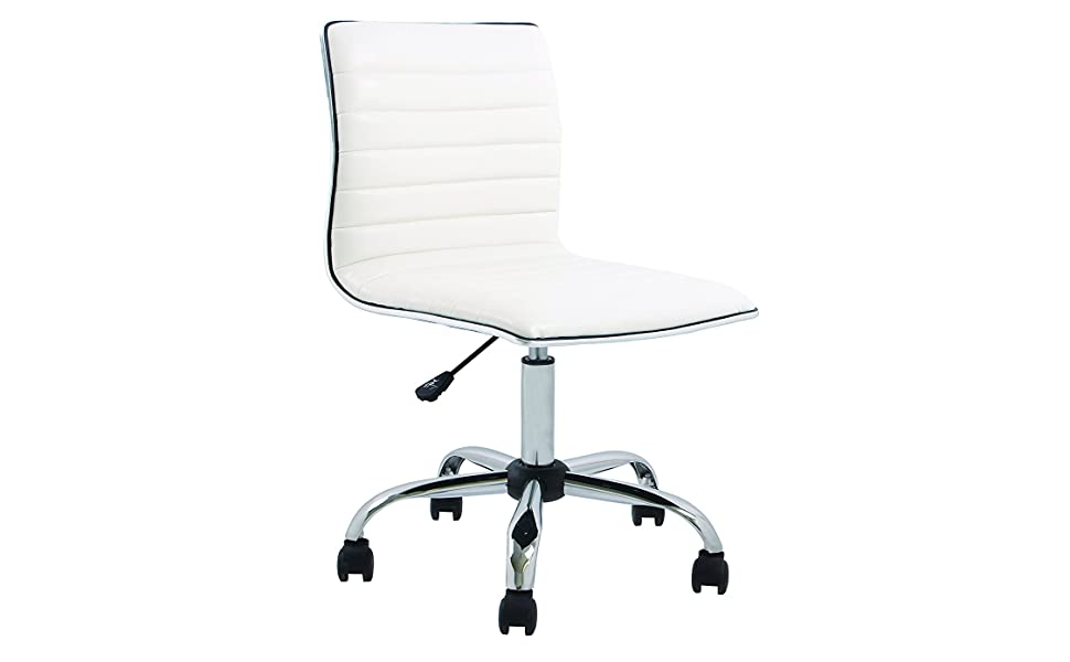 Pleasing Btexpert Swivel Mid Back Armless Ribbed Designer Task Chair Leather Soft Upholstery Office Chair White Andrewgaddart Wooden Chair Designs For Living Room Andrewgaddartcom