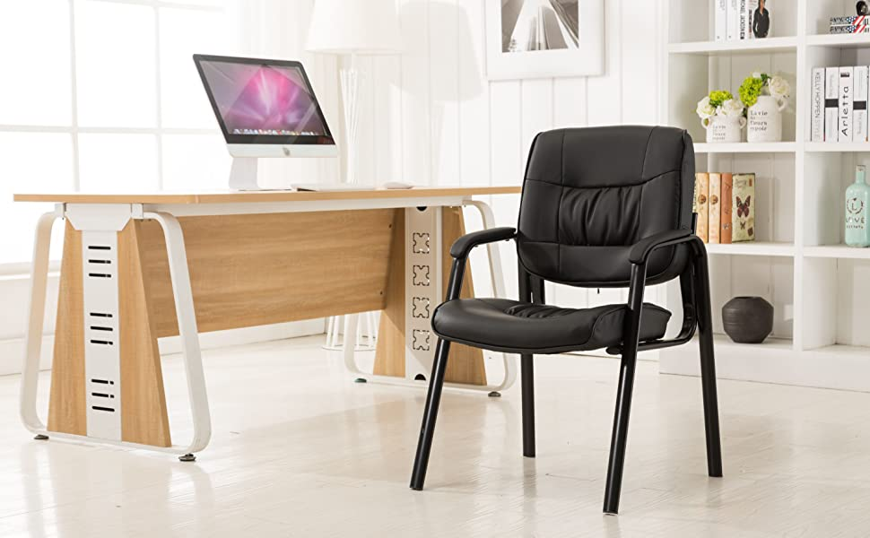 Amazon Com Btexpert Sleek Premium Leather Office Executive Waiting Room Guest Reception Side Conference Chair Black Furniture Decor