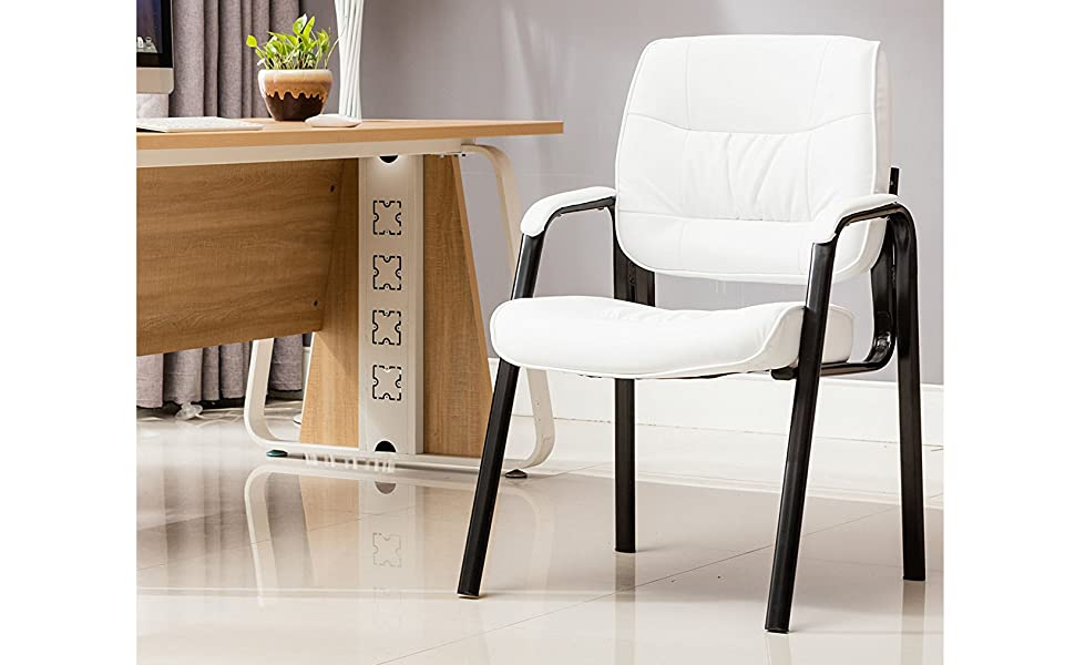 Fabulous Btexpert Executive Leather Office Chair Waiting Room Guest Reception Side Conference Chair White Andrewgaddart Wooden Chair Designs For Living Room Andrewgaddartcom