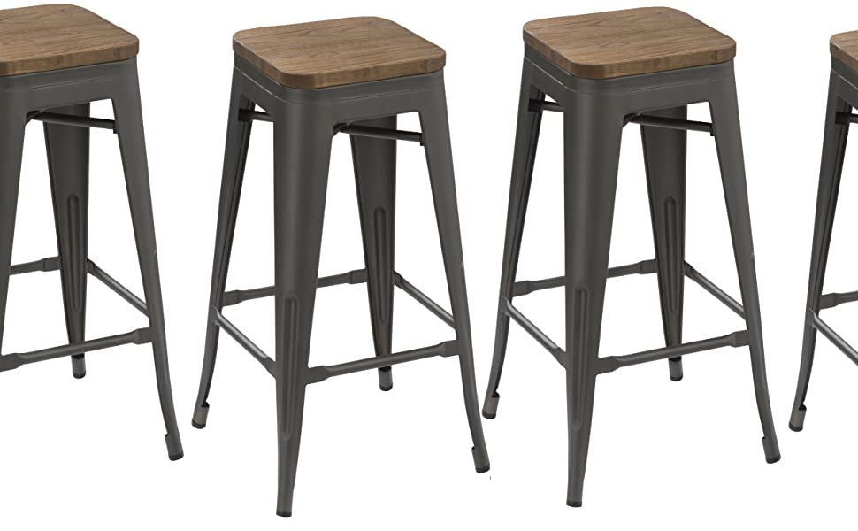 Amazon Com Btexpert 30 Inch Industrial Metal Vintage Stackable Antique Gunmetal Rustic Distressed Counter Bar Stool Modern Handmade Wood Top Seat Set Of 4 Barstools Furniture Decor