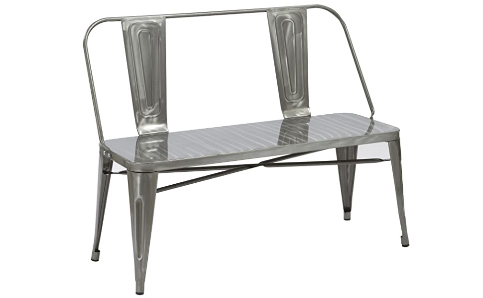 Sensational Btexpert Industrial Dining Chair Bench Full Back Seat Distressed Metal 5061Dm Onthecornerstone Fun Painted Chair Ideas Images Onthecornerstoneorg