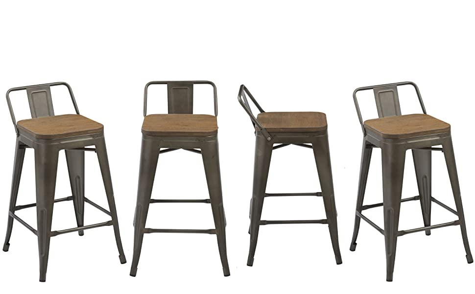 Incredible Btexpert 5090 Low Back Chair Industrial 24 Rustic Metal Wood Indoor Outdoor Counter Height Bar Stool Set Of 4 24 Inch Antique Bronze Machost Co Dining Chair Design Ideas Machostcouk
