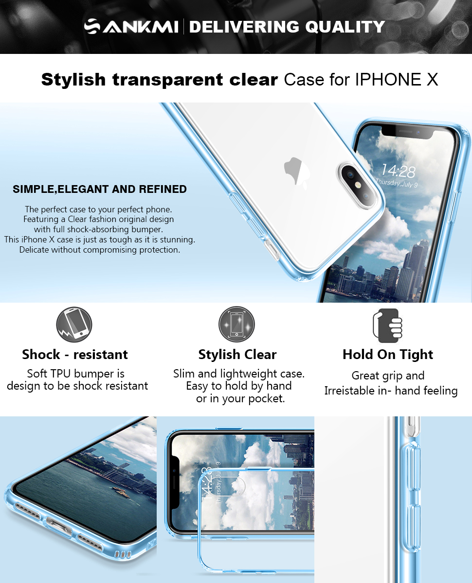 Amazon.com: iPhone X Caso, sankmi iPhone 10 Caso Claro ...