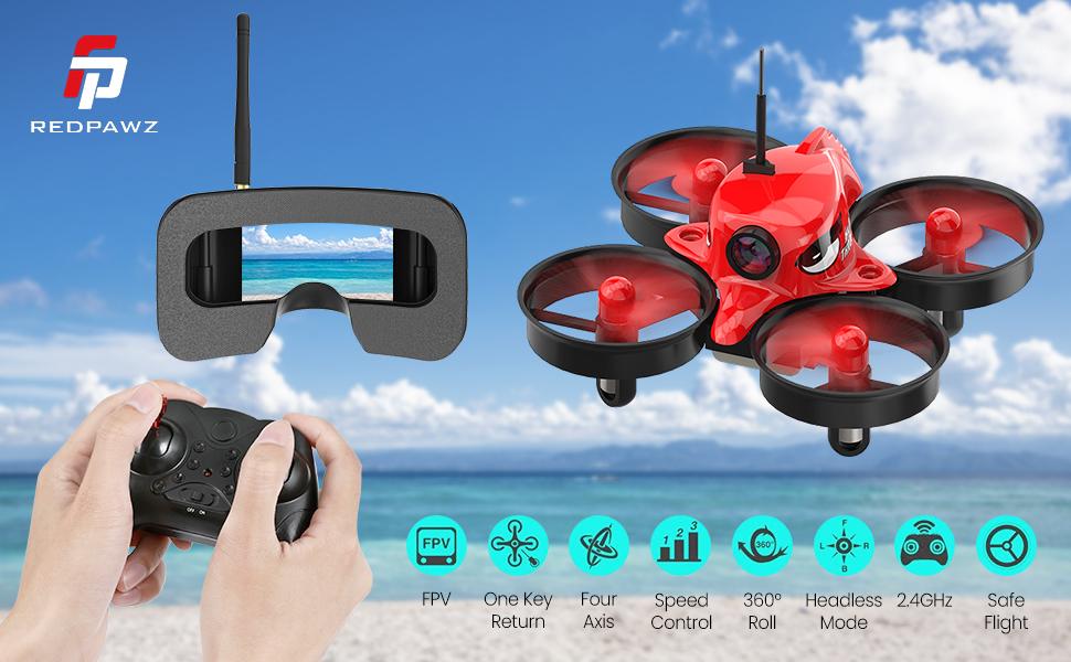 Micro FPV Racing Drone with 1000TVL Camera,VR Goggles, FOV 120°Wide-Angle Live Video Quadcopter