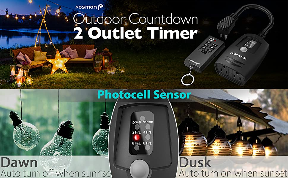 Fosmon Outdoor Photocell Light Timer Outlet With Remote