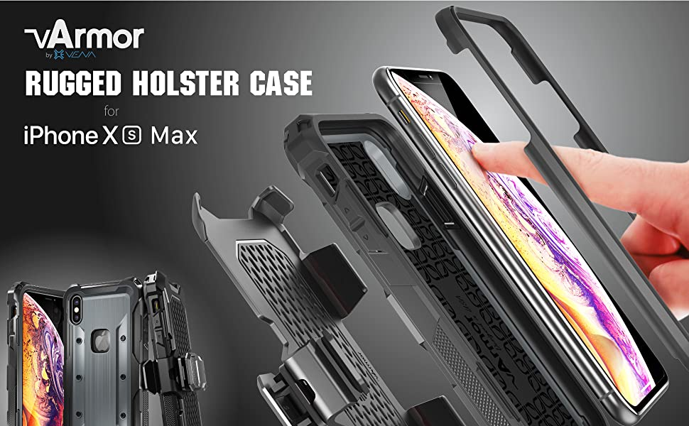 rugged iphone X MAX holster case