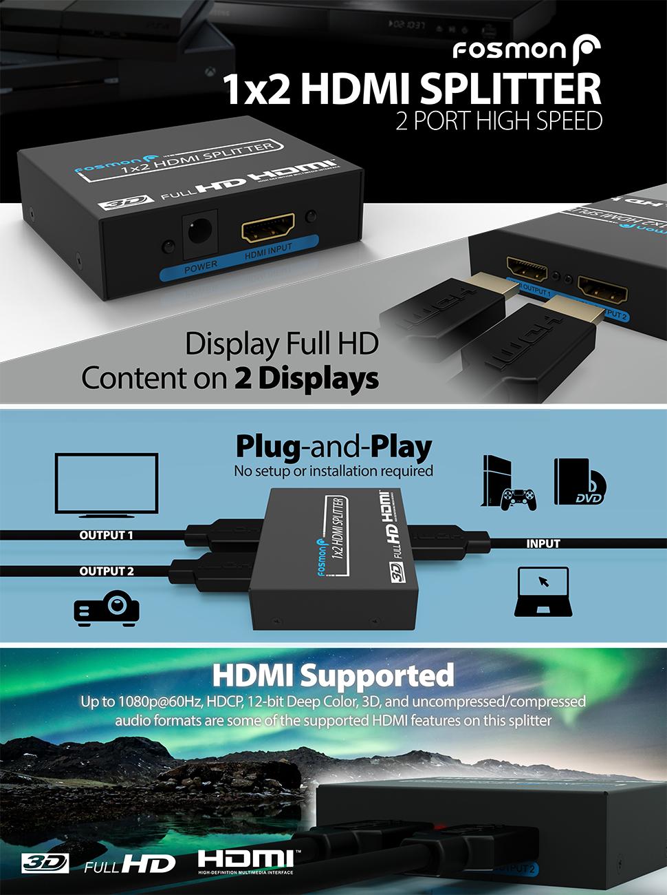 Amazon com: HDMI Splitter, Fosmon HD8090 1x2 1080P 2-Ports