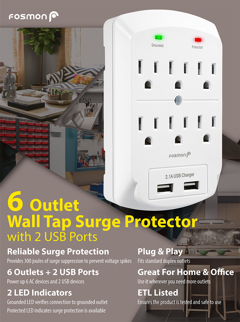 6 Outlet Wall Adapter Tap With Usb Charger Fosmon 3 Prong