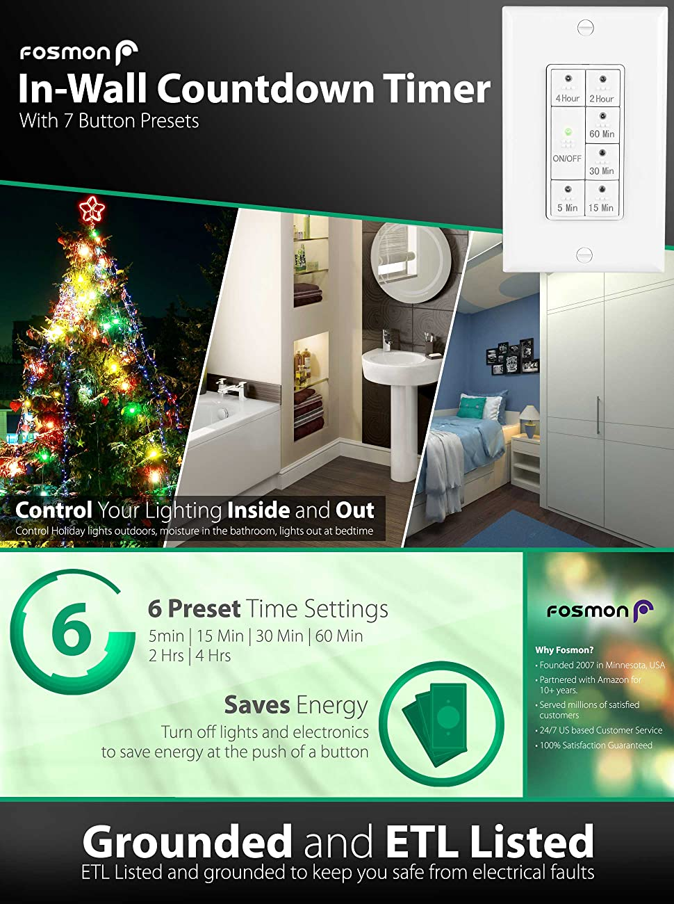 Light Timer Switch, Fosmon 7 Button Preset 1875W In-Wall Countdown ...
