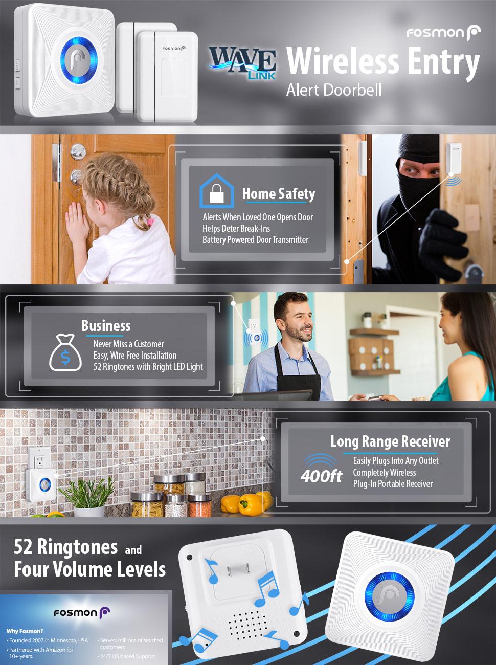 Fosmon WaveLink 51007HOM Wireless Door Open Chime (120M/400FT   52 Tunes    4 Volume Levels   LED Indicators) - 2 Magnetic Door Entry Alert Security