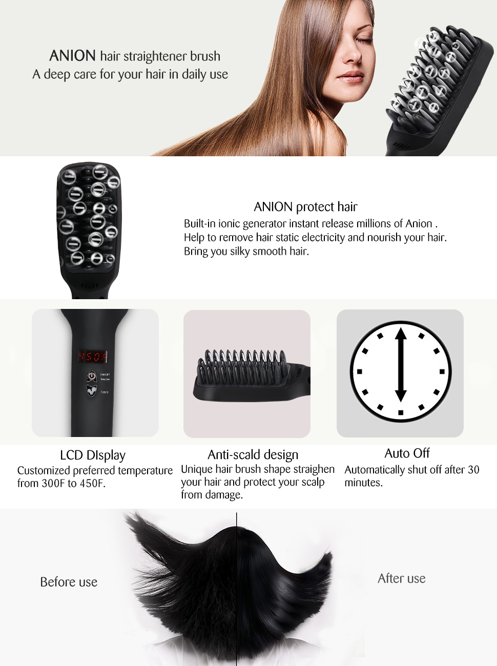 Amazon Bestidy Hair Straightener Brush Anion Instant Magic