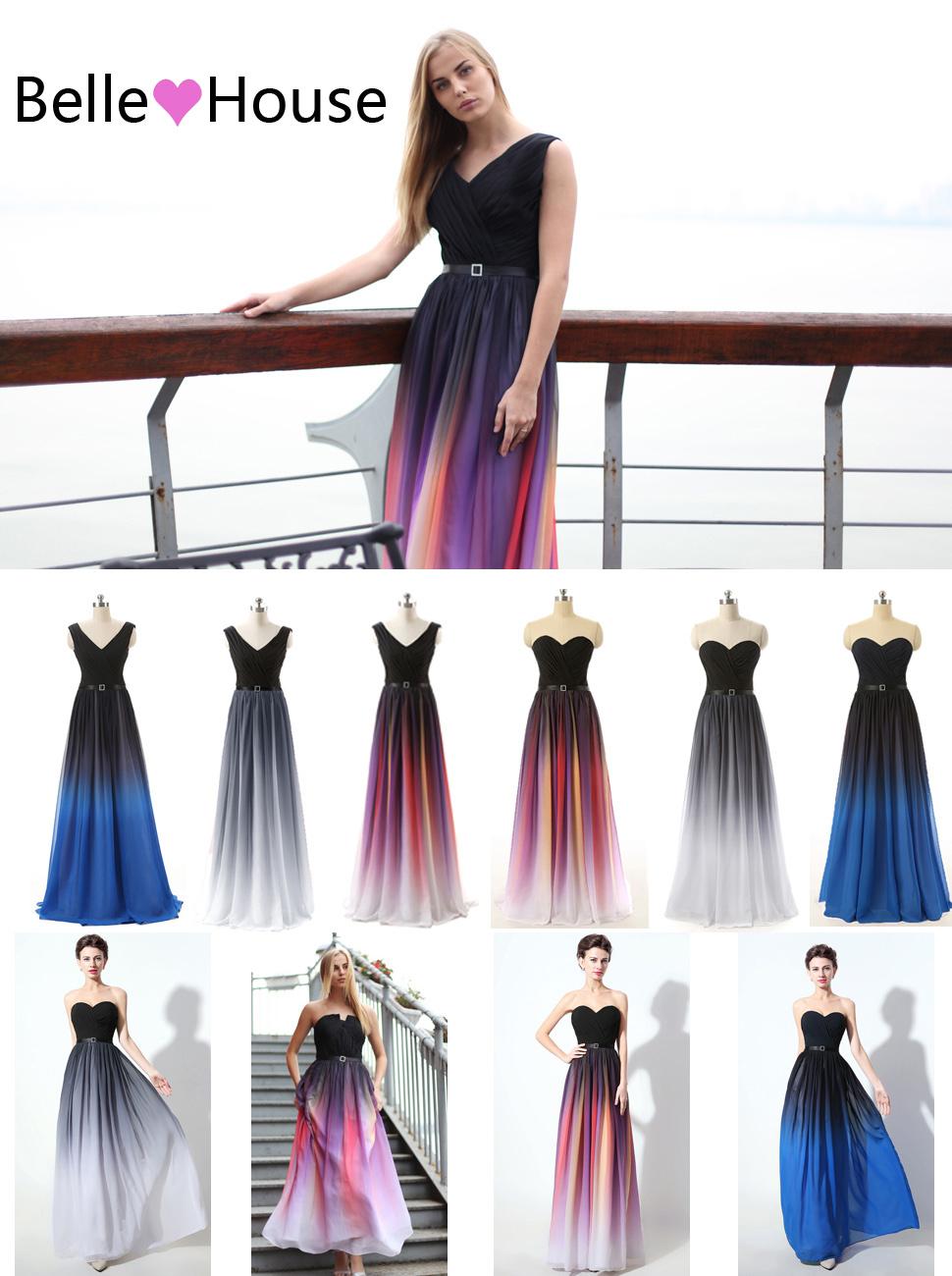 Amazon.com: Belle House Women\'s Gradient Color Chiffon Formal ...