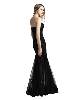 Length: Floor length. Closure: Lace Up Closure Embellishment: Beaded sequins and lace appliqued. Ocassion: Evening, Wedding, Prom and etc