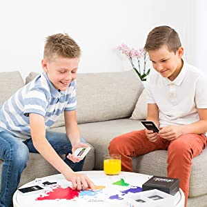 Kids playing educational geography card game with flags countries learning about the world