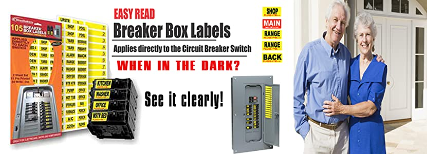 Circuit Breaker Decals - 105 Tough vinyl labels for Breaker Panel Boxes -  Great for Home or Office - Apartment Complexes and Electricians - Placed