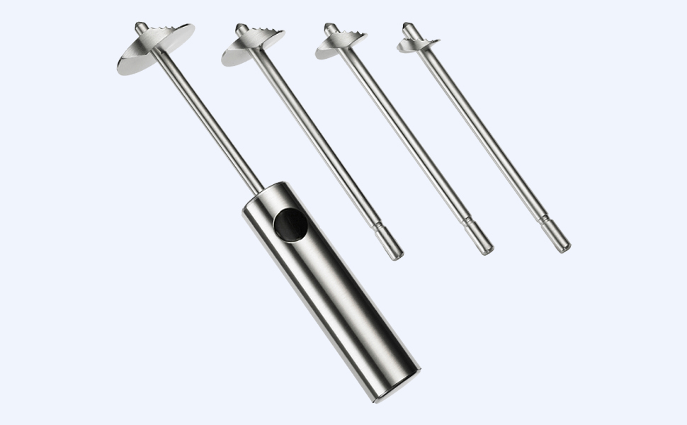Four drill heads in the sizes 1.6 cm, 2.3 cm, 2.9 cm and 3.9 cm