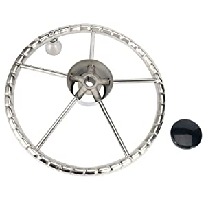 5-Spoke 13-1/2 Inch Destroyer Style Stainless Boat Steering Wheel with M Size Knob