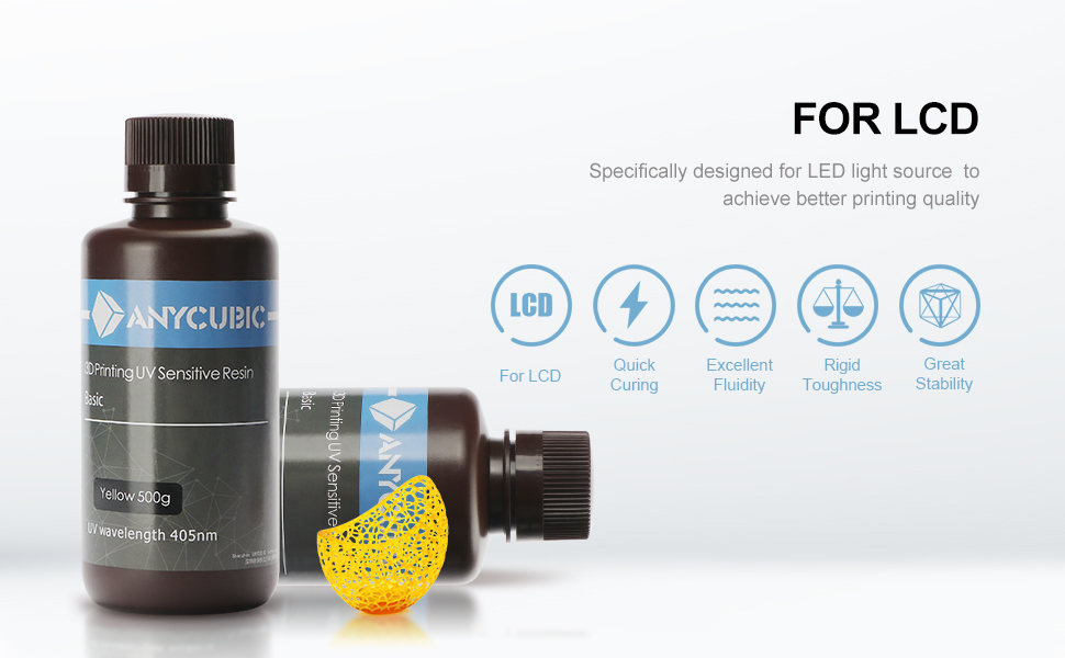 ANYCUBIC 3D Printer Resin, 405nm SLA UV-Curing Resin with High Precision and Quick Curing & Excellent Fluidity for LCD 3D Printing, 1 L Clear