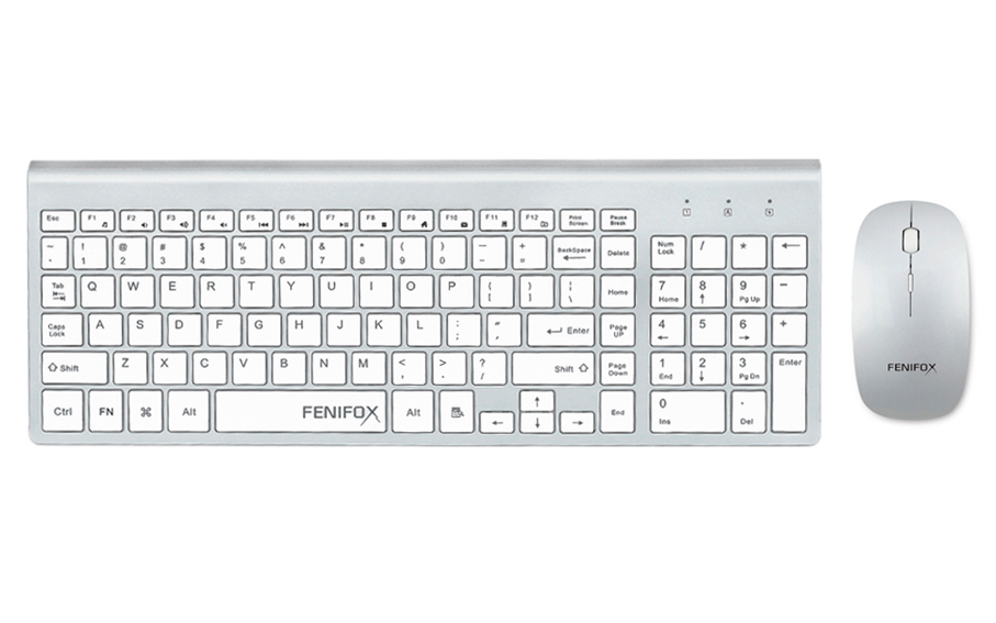 fenifox wireless keyboard and mouse ultra slim with whisper quiet keys for laptop. Black Bedroom Furniture Sets. Home Design Ideas