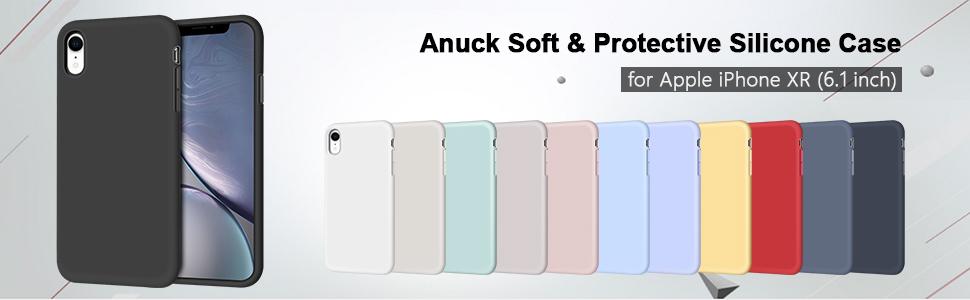 """Carcasa blanda de silicona para iPhone XR de 6,1"""", color negro"""
