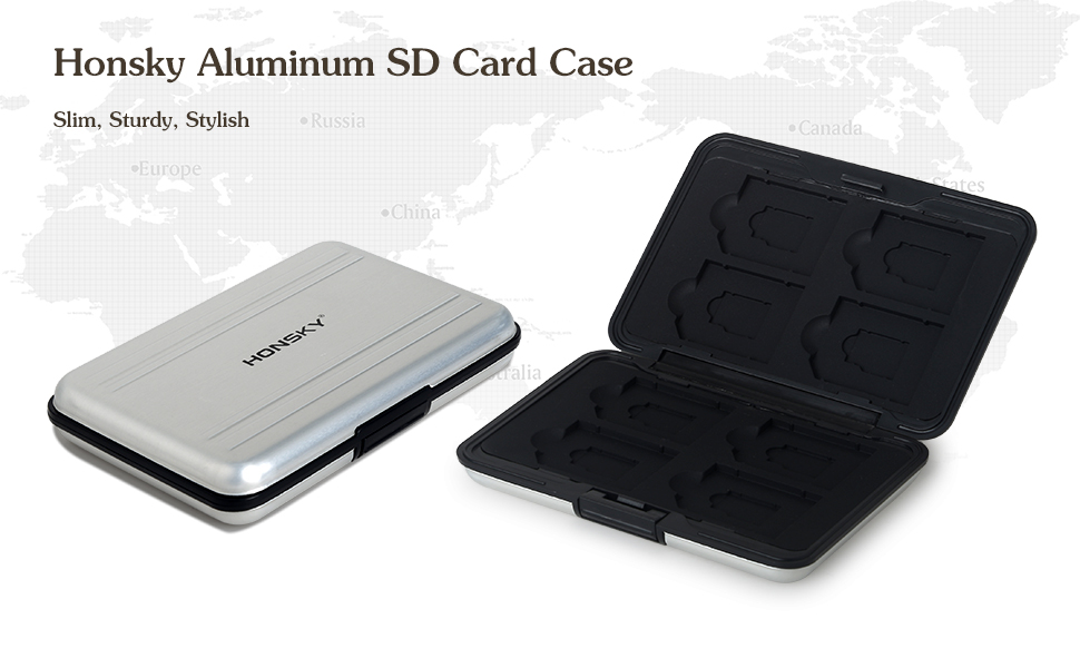 Honsky Aluminum UHS-I SD Micro SD SDHC SDXC TF SecureDigital Memory Card Carrying Case Holder Organizer Box Keeper for Computer Camera Media Storage ...
