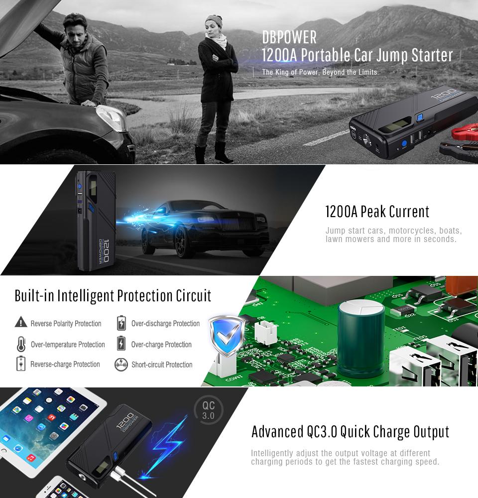 Amazon Com Dbpower 1200a Peak Portable Car Jump Starter For 6 5l