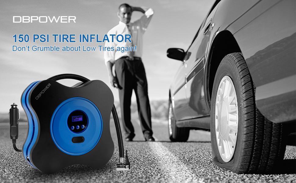 dbpower 12v dc air compressor pump digital tire inflator by 150psi with digital. Black Bedroom Furniture Sets. Home Design Ideas