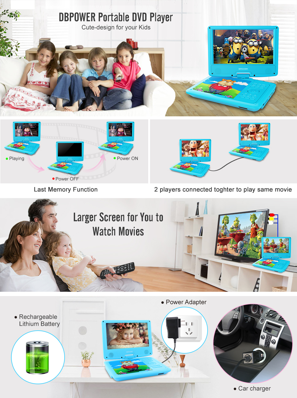 cute design dbpower 9 portable dvd players for your kids