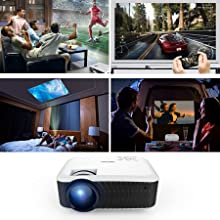 DBPOWER 2400 Lumen Projector, Upgraded T22 LCD Video Projector Support 1080P with Free HDMI Cable  White - HK Shared Dream