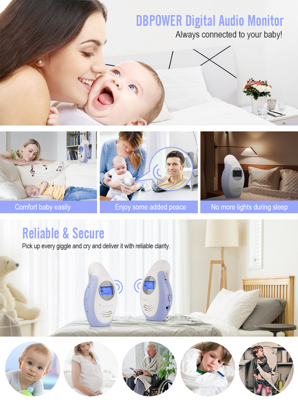 DBPOWER Digital Audio Baby Monitor with Two-way and Talk-back Intercom System - HK Shared Dream