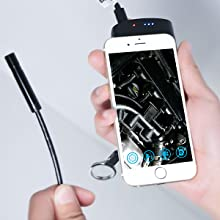 DBPOWER 2MP HD Wifi Endoscope Semi-rigid Cable 6 Adjustable Led IP67 Waterproof(5M/16.4ft) - HK Shared Dream