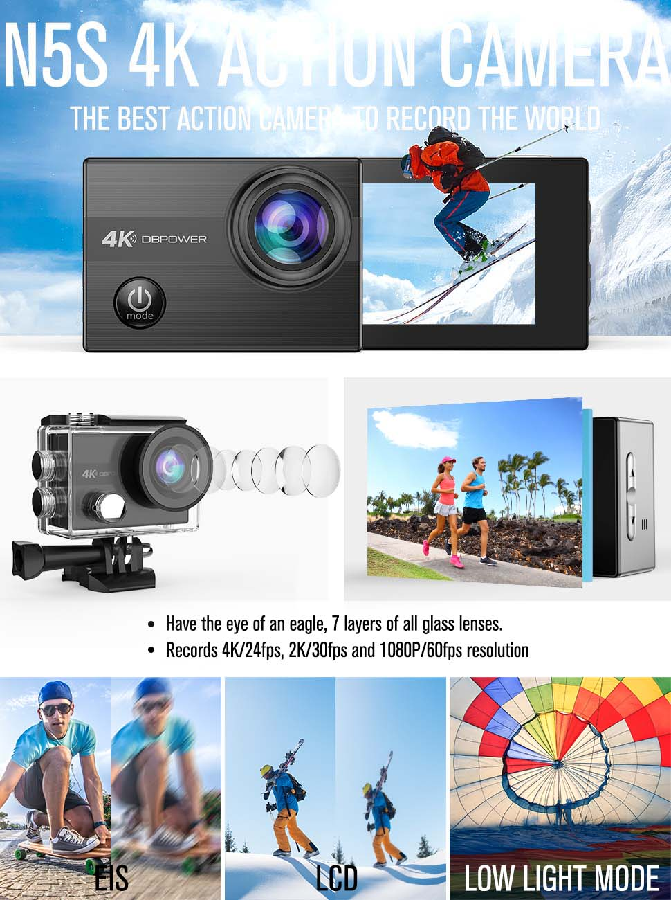 4K Action Camera By DBPOWER N5S 20MP WiFi Ultra HD EIS Sports Cam 170  Degree Adjustable Wide-Angle Lens 30m Underwater Camcorder Including 2