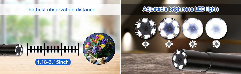 observation distance & adjustable brightness LED lights