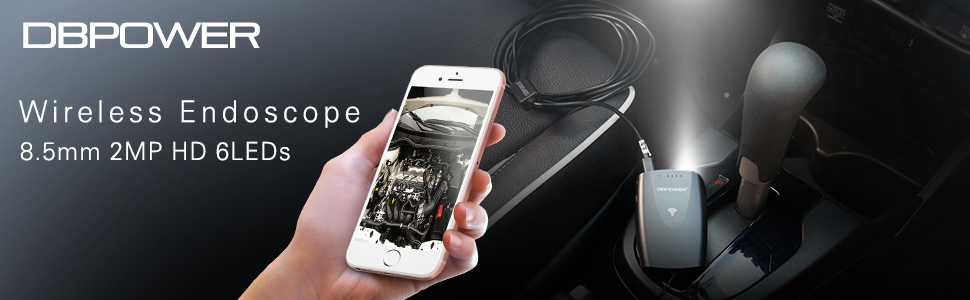 DBPOWER Wireless wifi endoscope 8.5mm 2MP HD 6LEDs
